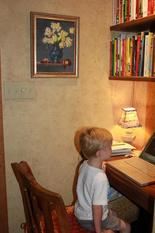 Cameron at computer