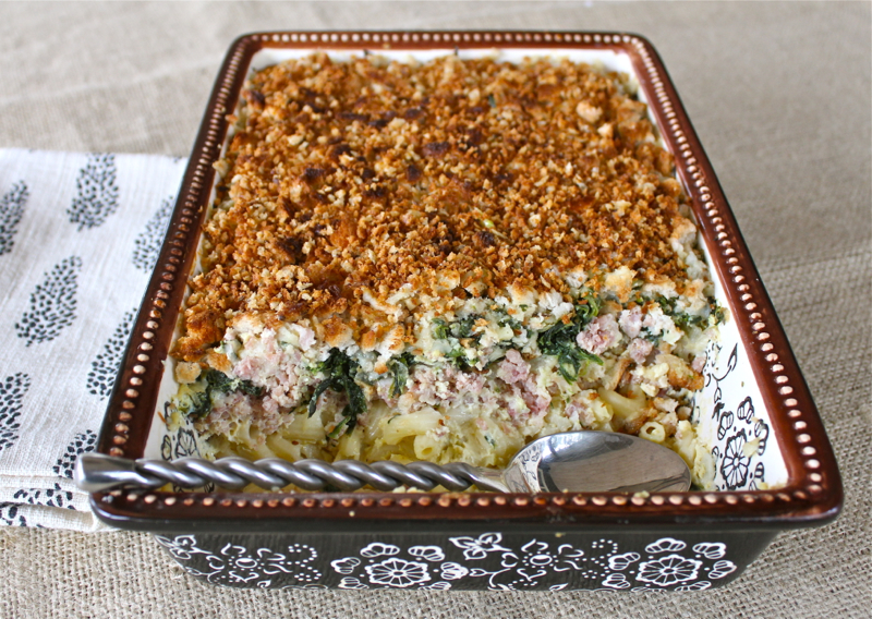 Ham, Spinach and Pasta Gratin 2