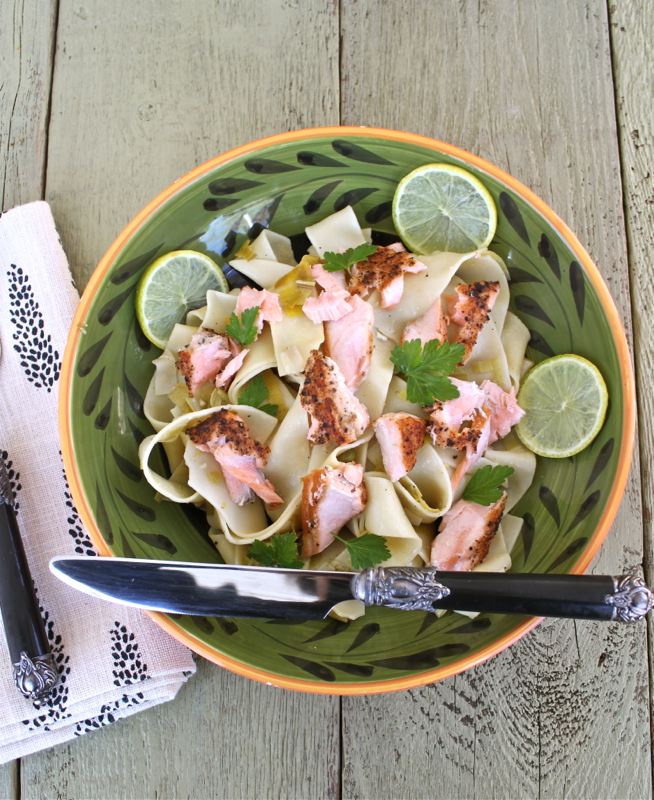Pappardelle with Salmon and Leeks 2V
