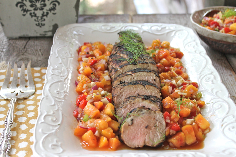 Grilled pork tenderloin with peach salsa 1