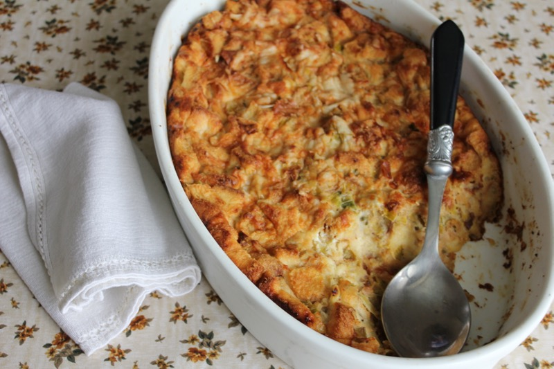 Leek and Gruyere Bread Pudding 1